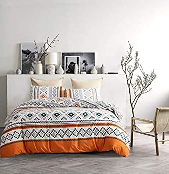 YFISAN Bohemian Duvet Cover Set Queen Boho Orange Comforter Cover Set Full 90 x90  Soft Breathable Durable Geometrical with Zipper Closure and Corner Ties 3 Pieces Bedding Set  Style 4 Full/Queen