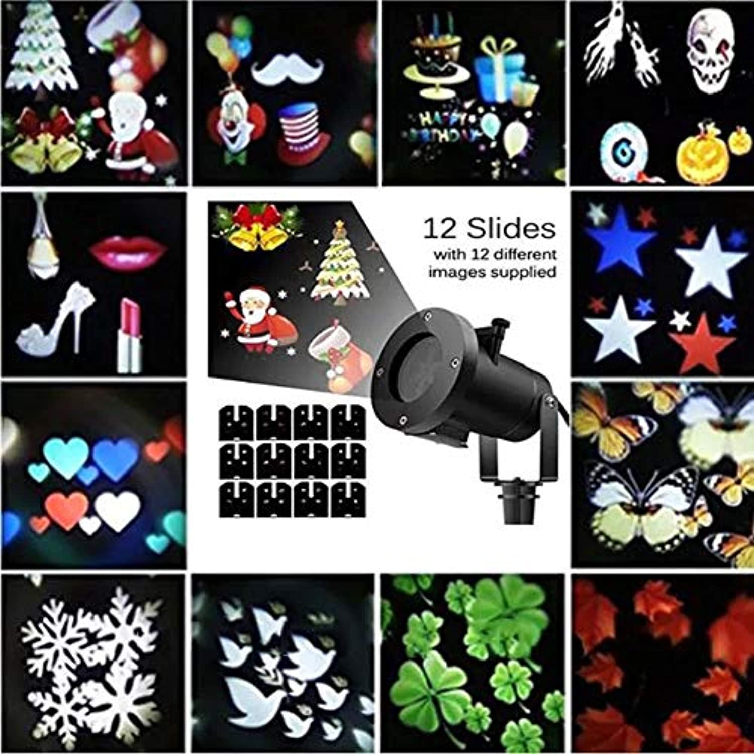 Christmas Halloween Geschenke LED Schneefall Projektor Schneeflocken Lichter Beleuchtet Abnehmbare Outdoor-Wasserdichte Animation Magic 12PCS Umschaltbarer Modus Anime Garden Courtyard Pool
