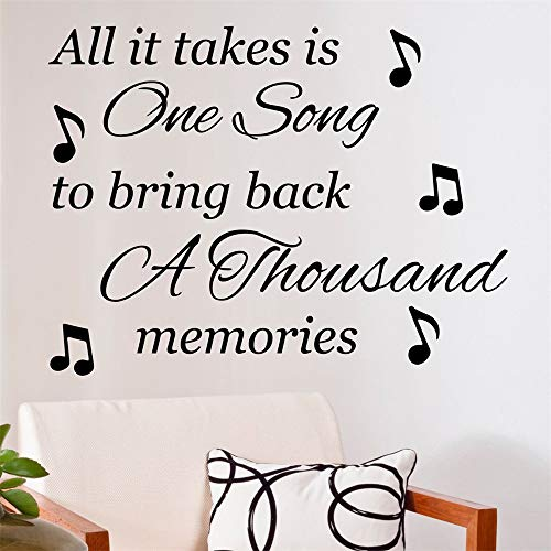 stickers muraux citations francaise All It Takes Is One Song to bring back a thousand memories for living room bedroom wall sticker