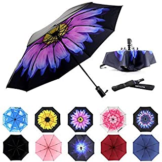 Inverted Umbrellas Reverse Folding Umbrella Windproof UV Protection Compact Umbrella for Travel Outdoor Daily Use