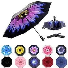 MRTLLOA Inverted Umbrellas Reverse Folding Umbrella Windproof UV Protection Compact Umbrella for Travel Outdoor Daily Use