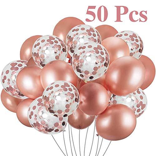 LIULIUKEJI 50 stuks ballonnen roségoud, confetti ballonnen voor bruiloft, party, Valentijnsdag decoraties