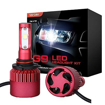 H7 LED Headlights, POWLAB 2Pcs H7 LED Headlight Bulbs, All-in-One Headlamp Conversion Kit, PHILIPS Single Beam, 72W 7200LM Pure White 6500K F-G9, 2 Yr Warranty