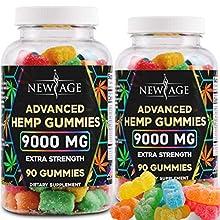 New Age Naturals Advanced Hemp Gummies 9000mg Extra Strength- 2 Pack - 180ct - 100% Natural Hemp Oil Infused Gummies - Vegetarian, Non GMO