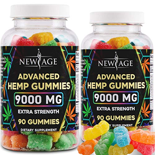 New Age Naturals Advanced Hemp Gummies 9000mg Extra Strength- 2 Pack - 180ct - 100% Natural Hemp Oil Infused Gummies - Vegetarian, Non GMO