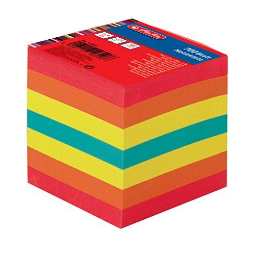 Herlitz Notizklotz Geleimt mit Deckblatt, 1 Stück in Folienpackung, 700 Blatt, 9 x 9 cm, farbig