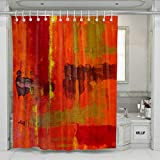 KR.LIF Graffiti Oil Paint Ink Murals Waterproof Shower Curtain Yellow Orange Red Green Fuzzy Oil Painting Funny Polyester Fabric Decor Bathroom Creative Shower Curtains 72 x 72 Inches