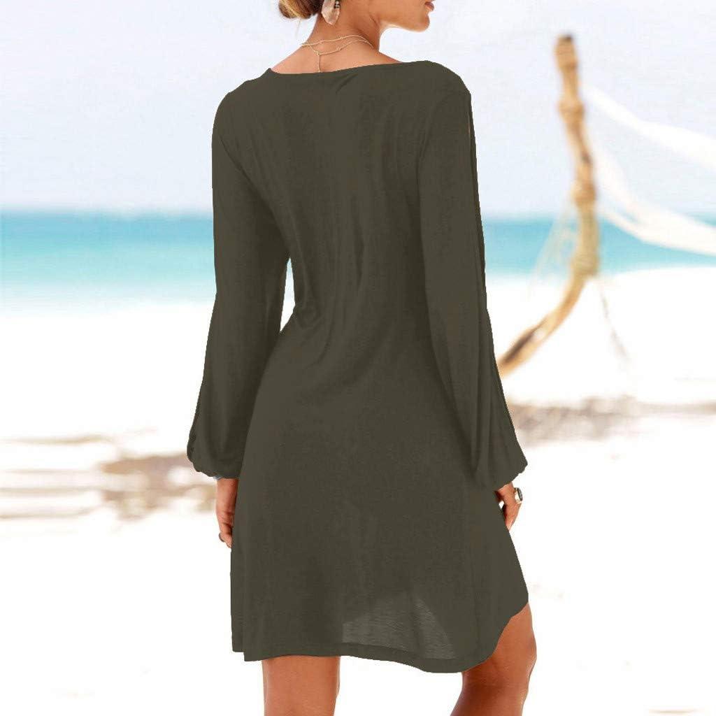 Abito Elegante Donna Corto Vestito Donna Estate Spiaggia Gonna Estiva Sasstaids Abito Partito Minigonna Maniche Vuote Abito Casual da Donna con Scollo a O Beach Style Mini Dress