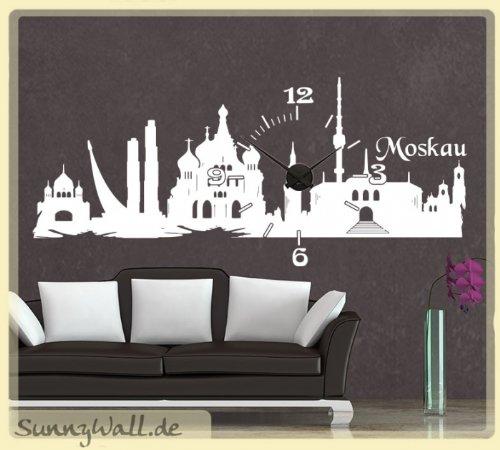 Sunnywall Wandtattoo Uhr Karlsson Wanduhr Skyline Moskau Moscow Farbe Creme
