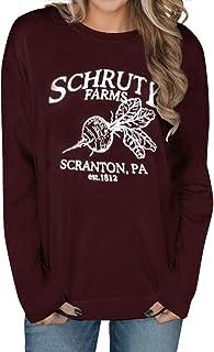 OUNAR Schrute Farms Shirt Graphic Tee for Women Dunder Mifflin The Office Fan Gift Cute Beets T-Shirt Short Sleeve
