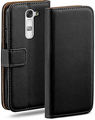 moex Klapphülle für LG G4c / LG Magna Hülle klappbar, Handyhülle mit Kartenfach, 360 Grad Schutzhülle zum klappen, Flip Hülle Book Cover, Vegan Leder Handytasche, Schwarz