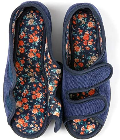RockDove Women s Floral Lined Adjustable Slipper with Memory Foam Size 9 US Women Navy product image