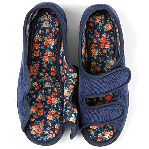 RockDove Women's Floral Lined Adjustable Slipper with Memory Foam, Size 9 US Women, Navy