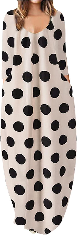 Womens Dresses Polka Dot Print Sundress V Neck Boho Dress Long Sleeve Cocktail Party Gowns Casual Maxi Long Skirt