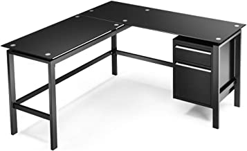 Black L Shaped Computer Office Desk with PremiumTempered Glass Top 2 Large Drawers Corner Workstation Table for Home Office