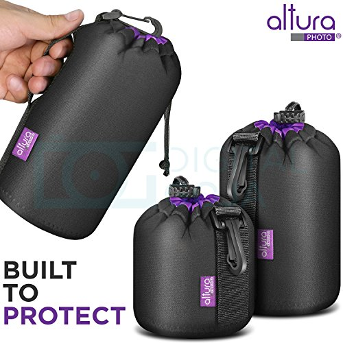 (3 Pack) Altura Photo Thick Protective Neoprene Pouch Set for DSLR Camera Lens (Canon, Nikon, Pentax, Sony, Tamron, Sigma, Olympus, Panasonic, Fuji) - Includes: Small, Medium and Large Pouches