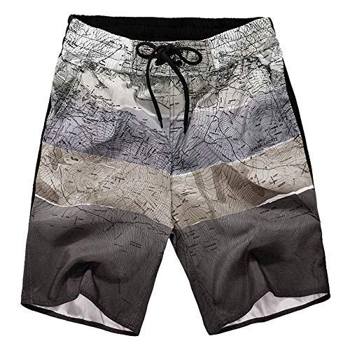Yowablo Herren Badeshorts Badehosen mit Taschen Schwimmhose Schwimmshorts Beachshorts Strand Shorts Kurze Hosen Freizeithosen (5XL,2Gary)