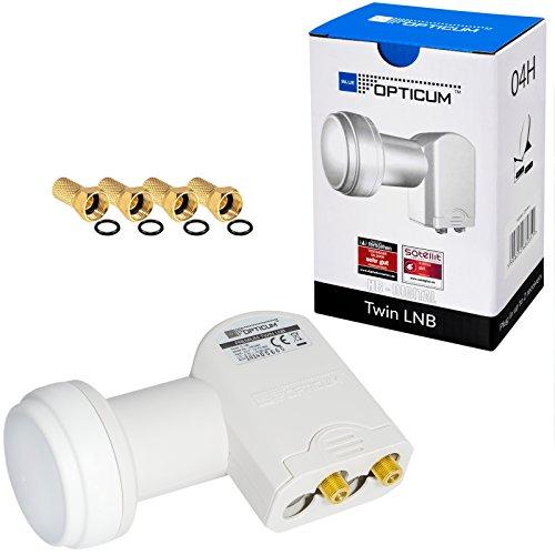 Opticum LTP-04H Twin LNB HB-DIGITAL White Premium Wieß Weiss NUR 0,1 dB UNIVERSAL ! SEHR RAUSCHARM + 4 vergoldete F-Stecker GRATIS DAZU