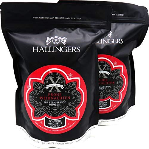 Hallingers Gourmet-Kaffee, schonend langzeit-geröstet (1.000g) - No. X Frohe Weihnachten, 2x 500g (Aromabeutel) - zu Weihnachten
