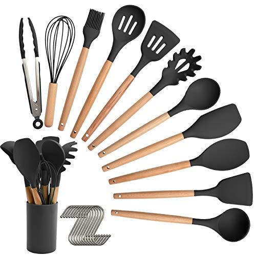 Juego de utensilios de cocina de silicona, 12 espátulas de cocina, mango de madera, antiadherente, sin BPA, espátula, cuchara y utensilios de cocina con soporte (negro)