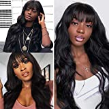 Body Wave Wigs With Bangs 100% Brazilian None Lace Front Wigs 150% Density Full Machine Made Long Wavy Human Hair Wigs Natural Black (26inch)