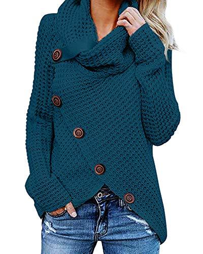 kenoce Maglione Donna Collo Alto Maglione Donna Casual Pullover Manica Lunga Casual Moda Tops Asimmetrico Maglione Maglione Autunnale e Invernale D-Blu L