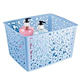 mDesign Grande organizer da bagno per saponi, salviette, accessori per capelli e molto altro – Capiente portaoggetti bagno – Porta oggetti di plastica con motivo floreale – azzurro