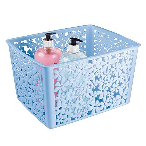 mDesign - Badkamermand - opbergmand - voor badkamer of douche - voor badkameraccessoires als shampoo, cosmetica en andere beautyproducten - plastic - carolina blauw