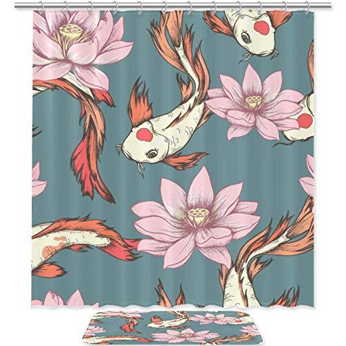 Tizorax Koi - Juego de cortinas de ducha con alfombras de baño antideslizantes para decoración del hogar