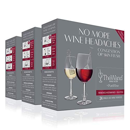 The Wand Weinfilter von PureWine | keine Kopfschmerzen mehr | entfernt Sulfite und Histamine | by The-Glass (72 Stück)