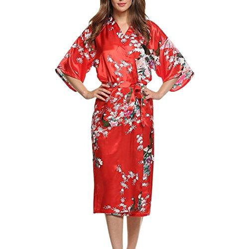 Asskyus Traje de Kimono de Robe Largo del sueño de Las Mujeres, Albornoz del Pavo Real y Flores del Traje Floral (S, Rojo)