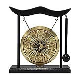 kstyhome mini desktop gong da tavolo wind chime strumenti a percussione con martello per la decorazione domestica regalo di inaugurazione della casa - dodici zodiaco cinese