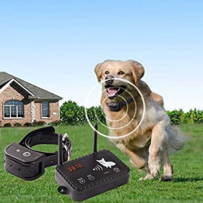 JUSTPET Wireless Dog Fence Containment System, Dual Antenna Stronger More Stable Signal, Control Distance 10 to 900 Feet Adjustable, Rechargeable Waterproof Collar Harmless for All Dogs (Black)