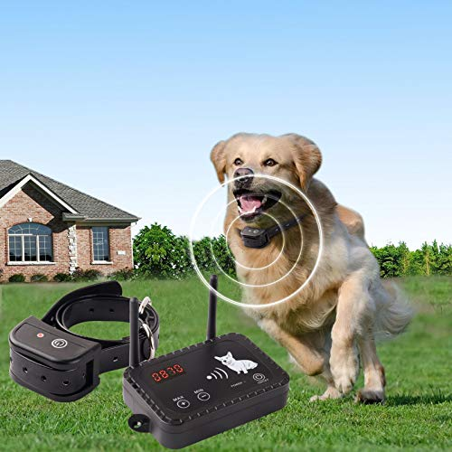 JUSTPET Wireless Dog Fence Pet Containment System, Dual Antenna Vibrate/Shock Dog Fence, Adjustable Control Range Up to 900 Feet, Consistent Signal No Randomly Correction