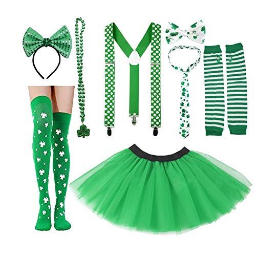 8 PCS Accesorios de fiesta del día de St. Patrick Conjunto con Shamrock Green Tutu Tulle Falda de tul Diadema Collar Lazo Guantes Calcetines para la foto Irish Party Photo Prop Mascarada Decoración de