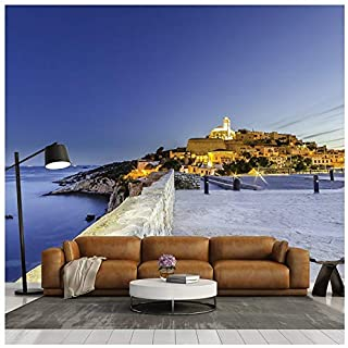 Sunset Over Castle Ibiza, Spain Beach & Ocean Wall Mural Travel Photo Wallpaper available in 8 Sizes Gigantic Digital