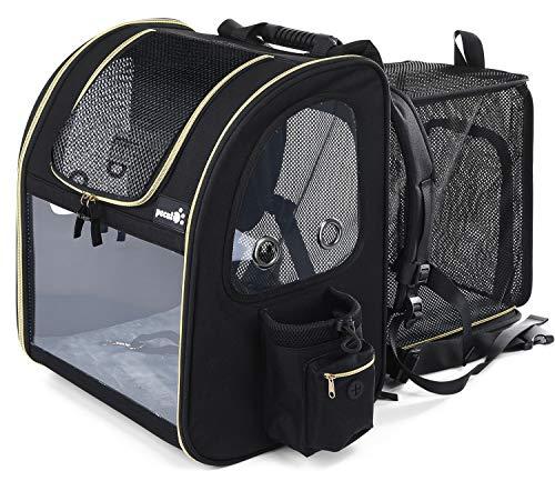 Pecute Haustier Rucksäcke für Hund und Katzen mit Front Opening Transparente Fenstertaschen,Tragbare und Erweiterbare Outdoor Faltbarer Raum Tragetasche,Schwarz(maximale Last 6kg)