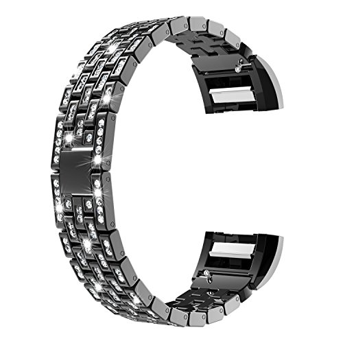 Wearlizer Für Fitbit Charge 2 Armband, Metall Replacement Fitbit Charge2 Armband Strap mit Strass für Fitbit Charge Two