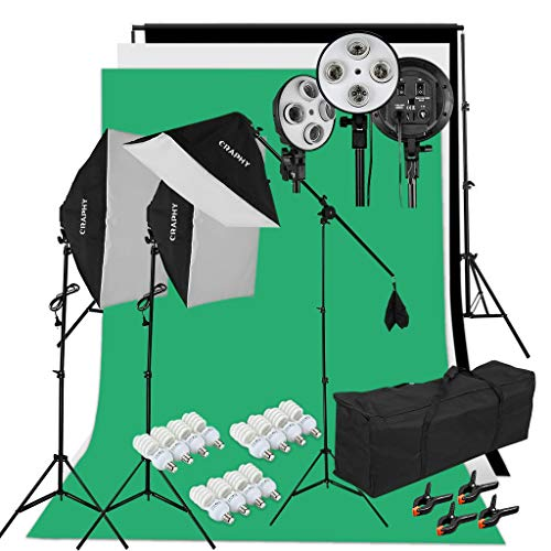 Kit Éclairage Studio Photo, Kit Studio Photo avec 3 Softbox avec 4 Douilles + 12x45W Ampoules + 3x80(2m) Trépieds + 3 Fonds + 2mx3m Support de Fond+ Sac de Transport