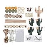 let's make DIY Handgemachte Baby Mobile Holzperlen Kaktus Anhänger mit Holzhalter Zubehör Glockenset Baby Raumdekor (Grün)