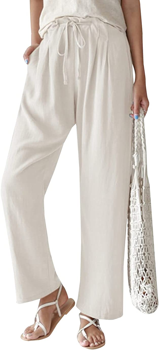 Duyang Womens Linen Pants Drawstring Waisted Wide Leg Pants Casual Loose Trousers with Pockets