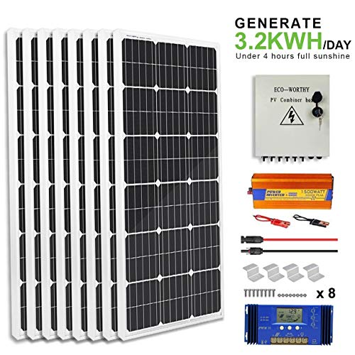 ECO-WORTHY 800 Watt Off Grid Complete Solar Panel System Kit with 8pcs 100W Mono Solar Panel + 1500W 24V-110V Off Grid Inverter + Solar Combiner Box+ 60A PWM Charge Controller