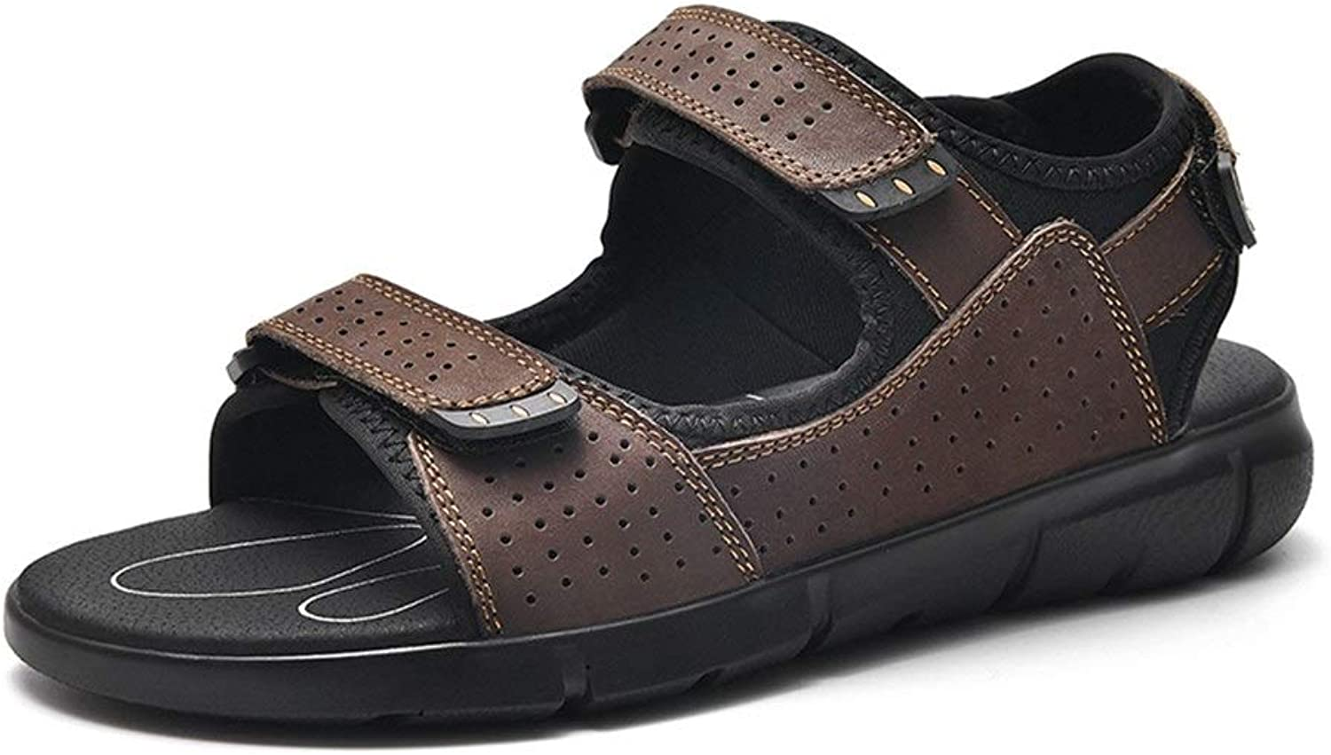Easy Go Shopping Classic Outdoor Sandals for Men Genuine Leather Summer Fashion Beach shoes Lightweight Anti-slip Flat Round Open Toe Hook&loop Strap Cricket shoes (color   Brown, Size   10.5 UK)