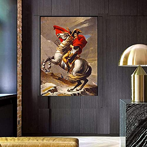 Pintura de arte en lienzo 30x50cm sin marco Pintura de retrato Napoleón Bonaparte Emperador Francia Alpes Caballo Pared nórdica para sala de estar Decoración del hogar Obra de arte