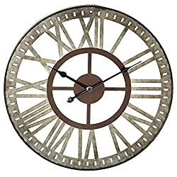 Midwest-CBK Antique Style Roman Numeral Wall Clock - Galvanized Metal 18