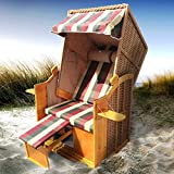 Strandkorb Helgoland 2-Sitzer für 2 Personen 90cm breit Rot Beige Grün kariert Gartenliege...