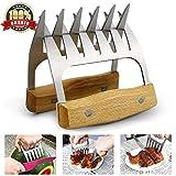 GOALUKK Meat Claws Pulled Pork Shredders-Stainless Steel BBQ Meat Forks Wooden Handle Fit Shredding Handling...