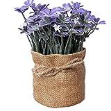 Laat - Flores artificiales para el hogar en maceta de estilo rústico, también para bodas, morado, 7.5*16.5cm