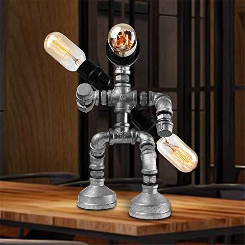 Lámpara de mesa nostálgica Steampunk Robot pensadores de luz Lámpara de mesa industrial con tubo de agua Lámpara de mesa de bajo consumo Lámparas de mesa vintage de 3 luces E27