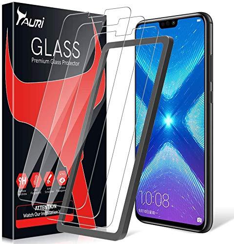 TAURI Pellicola Protettiva per Honor View 10 Lite/Huawei Honor 8X [3 Pezzi][Installazione Semplice del Telaio di allineamento] [2.5D] [9H Durezza] [Senza Bolle] Protezione Schermo Vetro Temperato